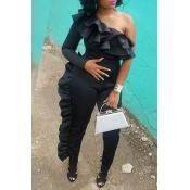 Lovely Euramerican Flounce Design Black  One-piece Jumpsuit