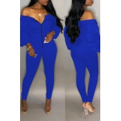 Lovely Trendy Dew Shoulder Skinny Blue Cotton One-piece Jumpsuit