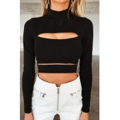 Lovely Euramerican Hollowed-out Black Sweaters