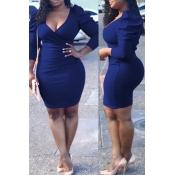 Lovely Vogue Slim Blue Blending Mini Dress