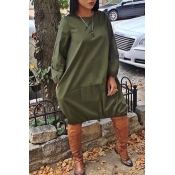 Lovely Euramerican Long Sleeves Loose Army Green K