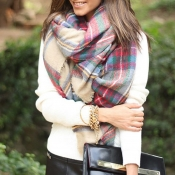 Lovely Casual Grids Multicolor Blended Scarves