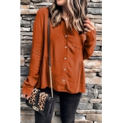 Lovely Casual Long Sleeves Orange Blouses