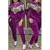 Lovely Casual Patchwork Sequined Decorative Purple Velvet Two-piece Pants Set