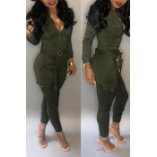2ec3fad400ff Lovely Chic Pockets Skinny Green One-piece Jumpsuit(Without Belt)