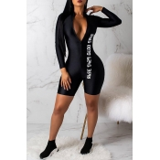 7e75147464f3 Lovely Sexy Printed Skinny Black One-piece Rompers