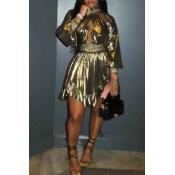 Lovely Euramerican  Lantern Sleeves Gold Mini Dress