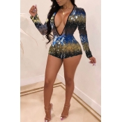 Lovely Sexy Sequined Decorative Yellow Blending One-piece Romper