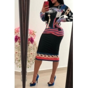 Lovely Casual Printed Pink Knee Length Dress