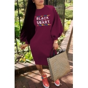 Lovely Casual Lantern Sleeves Wine Red Knitting Kn