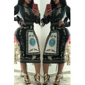 Lovely Casual Printed Black  Knitting  Mid Calf Dress