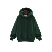 Lovely Casual Hooded Collar Drawstring Green Cotto