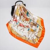 Lovely Retro Printed Orange Scarves