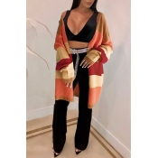 Lovely Casual Patchwork Long Orange Acrylic Cardig