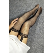 Lovely Casual Rhinestone Decorative Black Socks