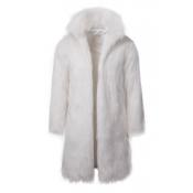 Lovely Euramerican Long Sleeves White Faux Fur Coa