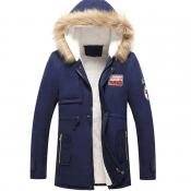 Lovely Euramerican Hooded Collar Navy Blue Cottonp