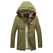 Lovely Euramerican  Hooded Collar Army Green Cotto