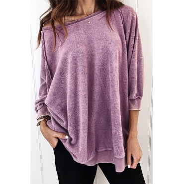 Lovely Trendy Patchwork Purple Blouses