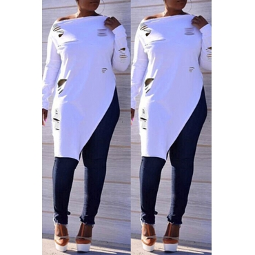 Lovely Casual Irregular Hems Long Sleeves White T-shirt
