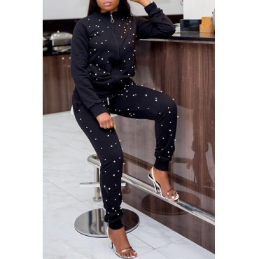 Lovely Sweet Long Sleeves Nail Bead Design Black Twilled Satin  Two-piece Pants Set