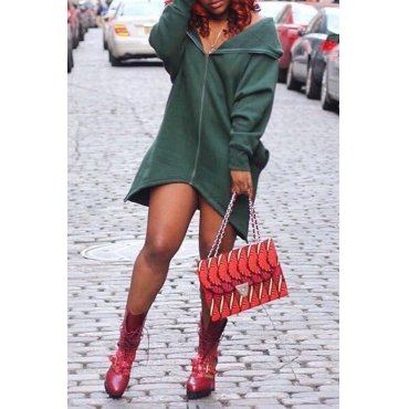 Lovely  Casual Long Sleeves Zippers Design Green Mini Dress