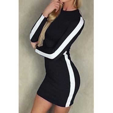 Lovely Trendy Patchwork Slim Black Knitting Mini Dress