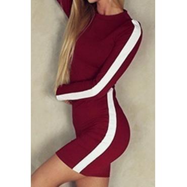 Lovely Trendy Patchwork Slim Wine Red Knitting Mini Dress