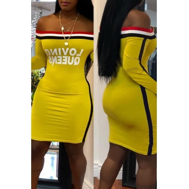 Lovely  Casual Long Sleeves Letters Printed  Yellow Twilled Satin Knee Length Dress