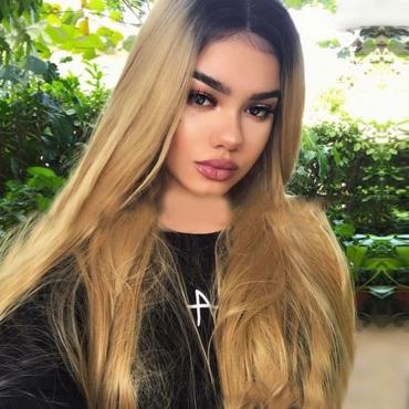 Lovely Euramerican Straight Long Gradual Change Gold Wigs