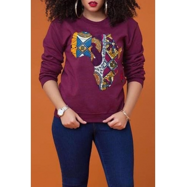 Lovely  Casual Long Sleeves Printed Wine Red Hoodies
