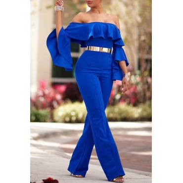 Lovely Temperament Dew Shoulder Trumpet Sleeves Blue Blending One-piece Jumpsuit