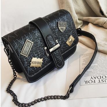 Lovely Retro Buckles Design Black Patent Leather  Messenger