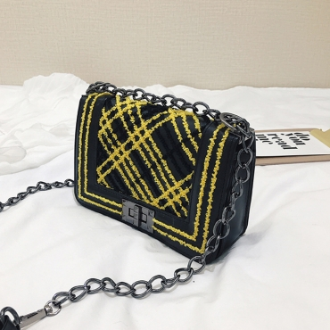 Lovely Chic Printed Yellow Patent Leather  Messenger