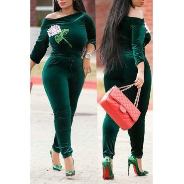Tuta Monopezzo In Velluto Verde A Spalla Casual Con Vestibilità Comoda