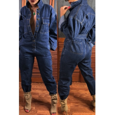 Lovely Casual Open Front With Button Loose Deep Blue Denim One-piece Jumpsuit