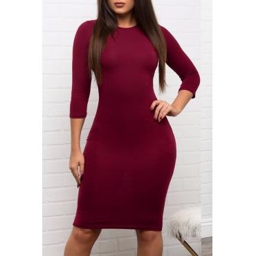 Lovely  Euramerican Slim Wine Red Knee Length Dress