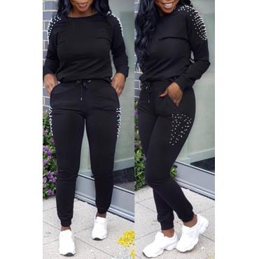 Lovely Euramerican Nail Bead Design Black Two-piece Pants Set