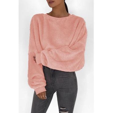 Lovely Euramerican Long Sleeves Loose Pink Hoodies
