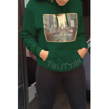 Lovely Casual Printed Blackish Green Hoodies