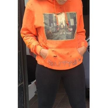 Lovely  Casual Printed Orange Hoodies