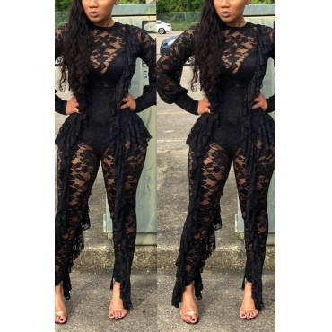 Lovely Sexy Tassel Design Black Lace One-piece Jumpsuit