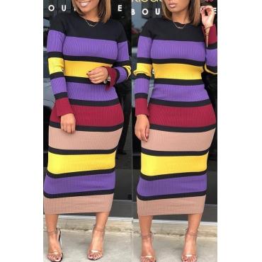 Lovely Casual Striped Slim Purple Mid Calf Dress