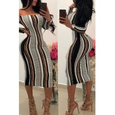 Lovely Euramerican Printed Slim Grey Knee Length Dress