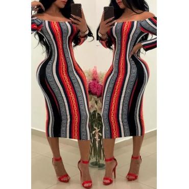 Lovely Euramerican Printed Slim Red Knee Length Dress