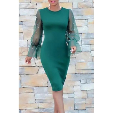 Lovely  Fashion Patchwork Hubble-bubble Sleeves Green Knee Length Dress