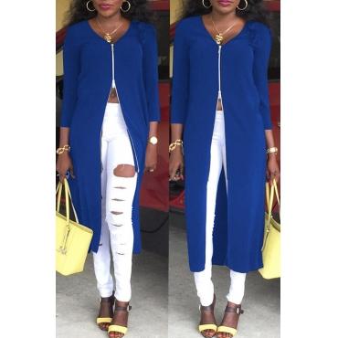 Lovely Euramerican Zipper Design Blue Twilled Satin Coat