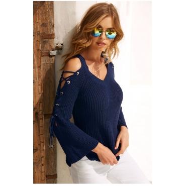 Lovely Sweet Bandage Design Dark Blue Sweaters