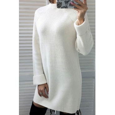 Lovely Euramerican Long Sleeves White Blending Mini Dress