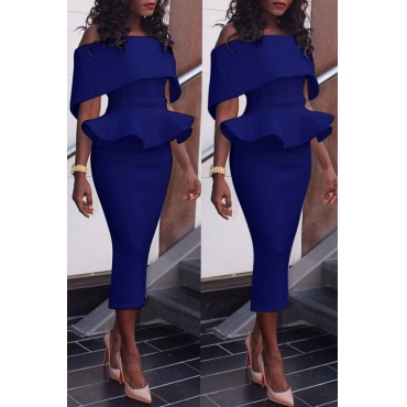 Lovely Elegant Dew Shoulder Pencil Blue Mid Calf Dress